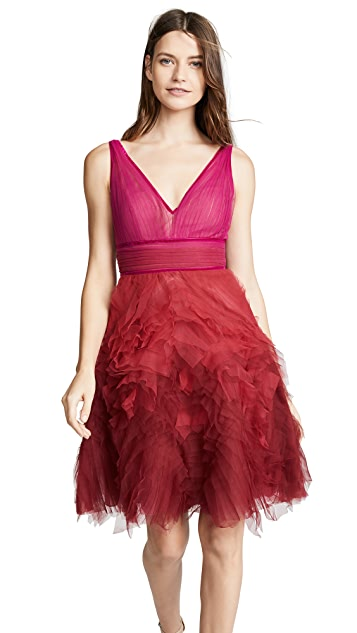 Marchesa Notte Ombre Cocktail Dress