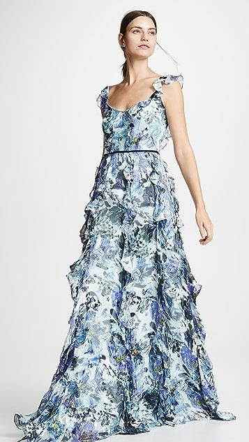 Marchesa Notte Sleeveless Printed Burnout Silk Gown
