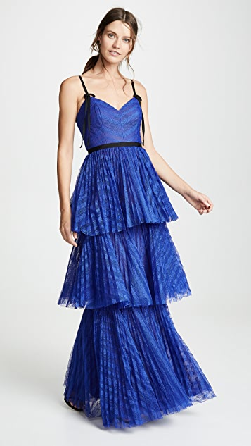 Marchesa Notte Sleeveless Striped Lace Tiered Gown