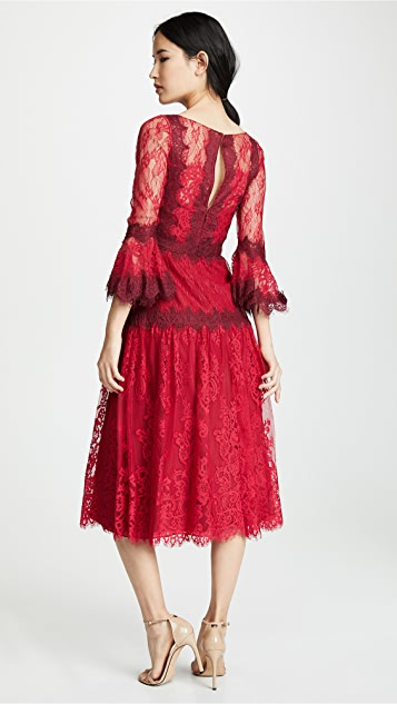 Marchesa Notte Mixed Lace Tea Length Cocktail Dress