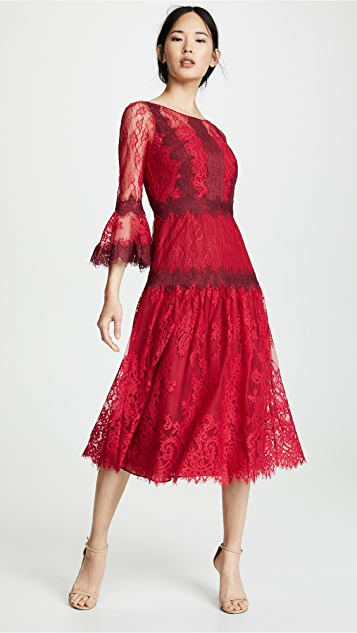 efb0aae38e7 ... Marchesa Notte Mixed Lace Tea Length Cocktail Dress ...