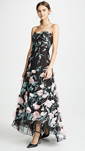 Marchesa Notte Strapless High Low Embroidered Gown with 3D Flowers
