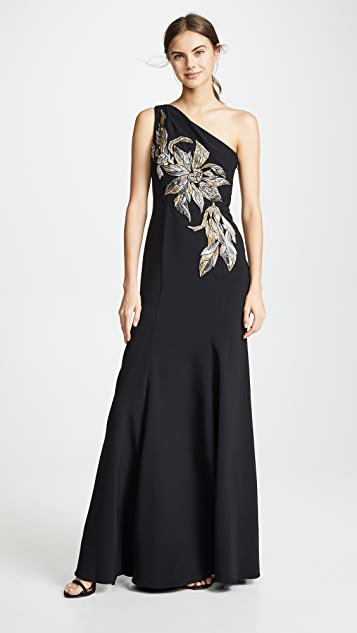Marchesa Notte Вечернее платье с открытым плечом и аппликациями с бусинами