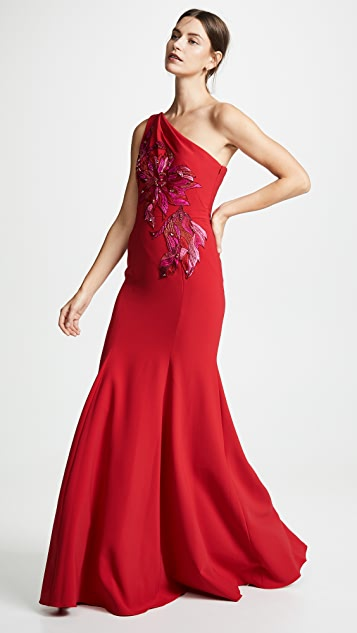 Marchesa Notte One Shoulder Gown with Beaded Appliques