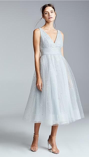 Marchesa Notte V Neck Tulle Glitter Gown