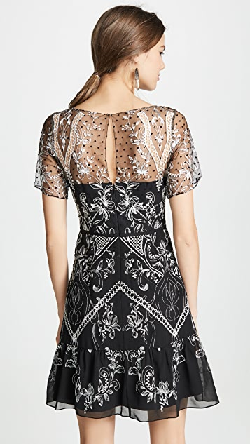 Marchesa Notte Chiffon Dotted Tulle Cocktail Dress