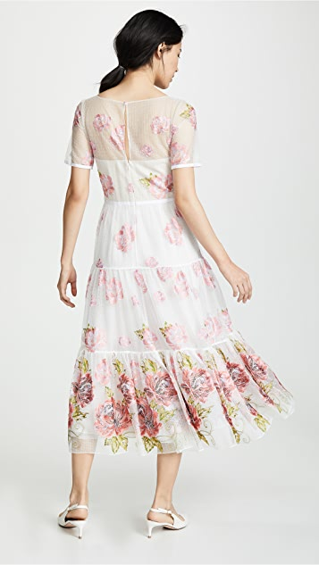Marchesa Notte Floral Embroidered Tea Length Gown