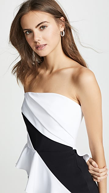 Marchesa Notte Strapless High Low Cocktail Dress