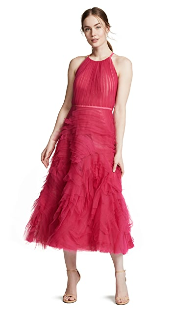 Marchesa Notte Sleeveless Textured Tulle Tea Length Gown