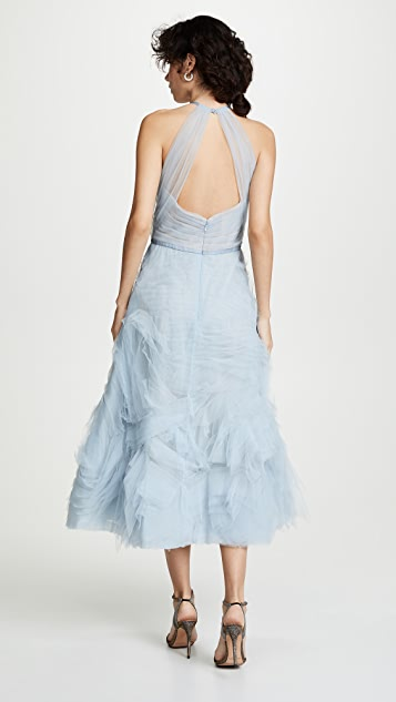 Marchesa Notte Textured Tulle Tea Length Gown