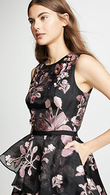 Marchesa Notte Floral 3D Embroidered Cocktail Dress