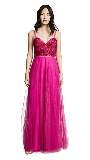 Marchesa Notte Strapless Beaded Embroidered Gown