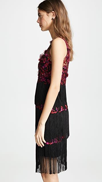 31e46420a275 Marchesa Notte V Neck Embroidered Fringe Cocktail Dress | SHOPBOP