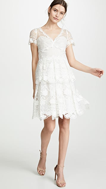 Marchesa Notte Floral Eyelet Tiered Cocktail Dress
