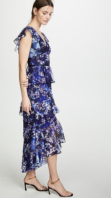 Marchesa Notte Вечернее платье с цветочным рисунком, рукавами-крылышками и V-образным вырезом