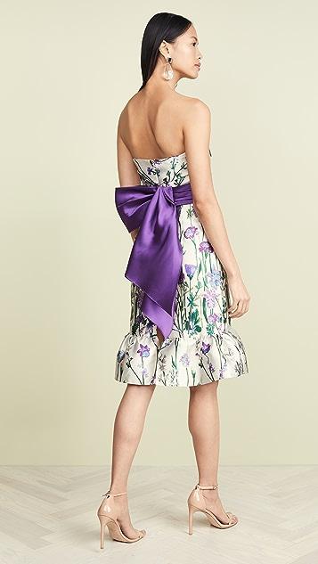 Marchesa Notte Коктейльное платье без бретелек с цветочным орнаментом