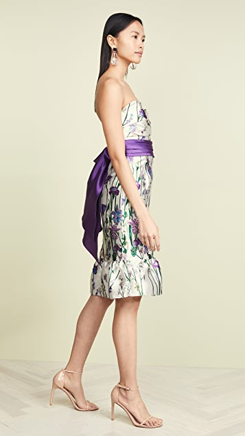 Marchesa Notte Strapless Floral Cocktail Dress