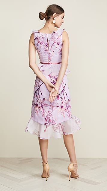 Marchesa Notte Sleeveless Floral Organza Cocktail