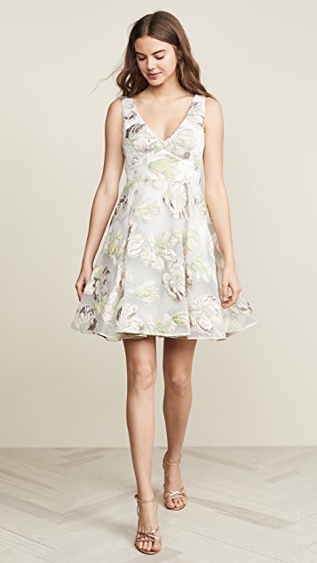 Marchesa Notte Metallic Cocktail Dress