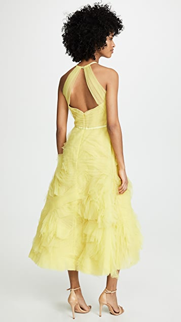 Marchesa Notte Tulle Gown with Draped Bodice