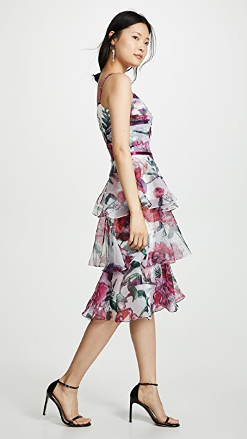 Marchesa Notte Floral Organza Tiered Gown