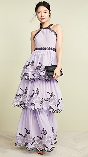 Marchesa Notte Tulle Tiered Gown with Lace Trim