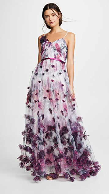 Marchesa Notte V Neck Floral Tulle Gown