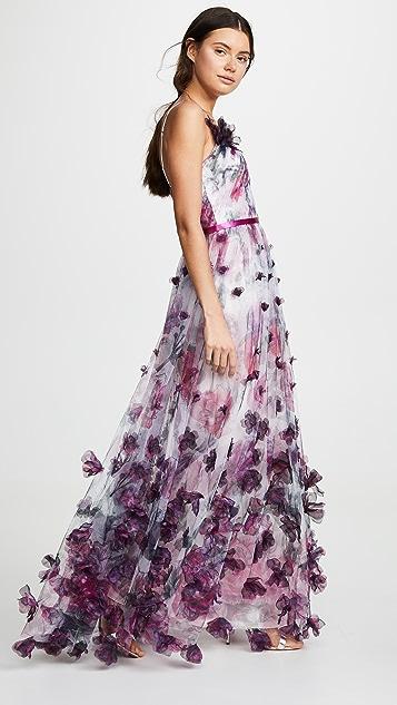 Marchesa Notte Вечернее платье из тюля с цветочным рисунком и V-образным вырезом