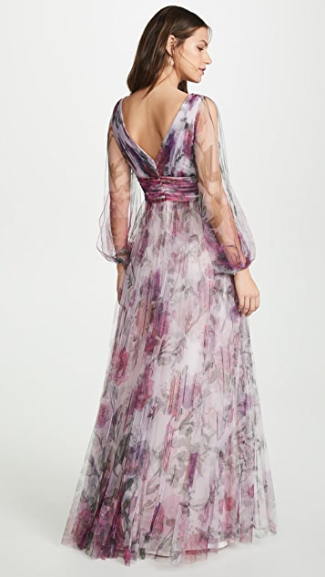 Marchesa Notte Bishop Sleeve Pleated Floral Gown