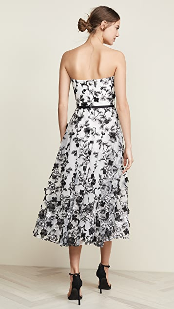 Marchesa Notte Strapless Embroidered 3D Flower Gown