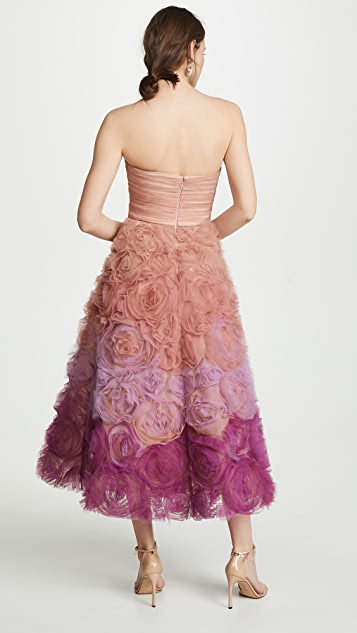 Marchesa Notte Strapless Ombre Textured Tulle Gown