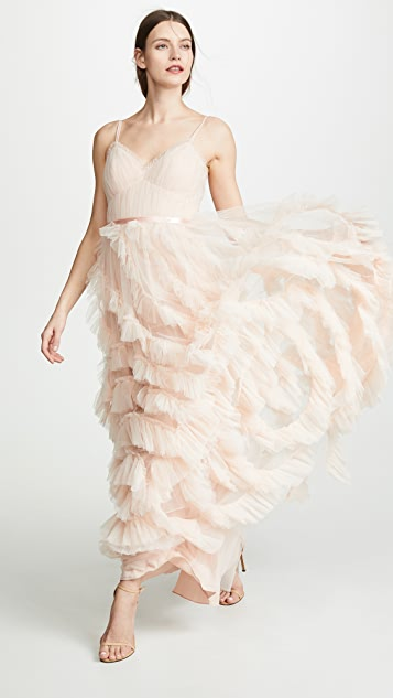 Marchesa Notte Textured Tulle Gown