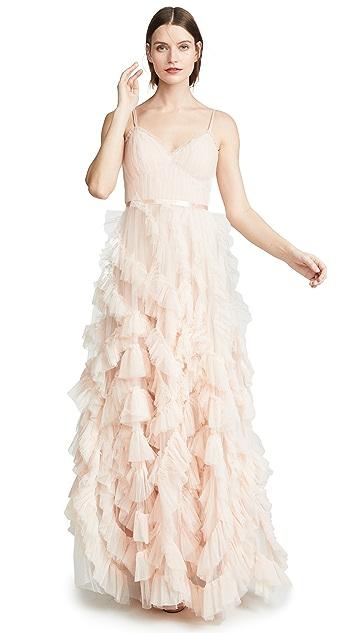 Marchesa Notte Текстурированное вечернее платье из тюля