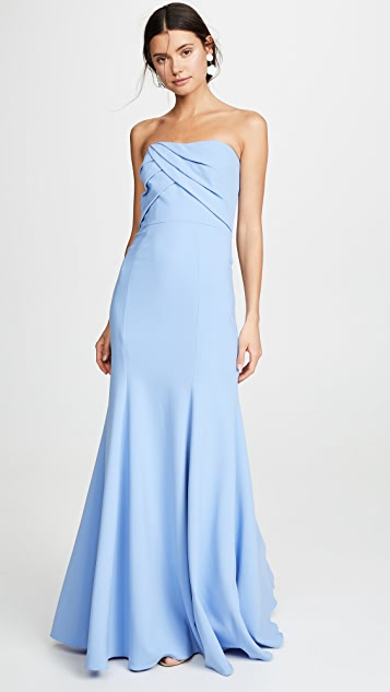 Marchesa Notte Sleeveless Draped Bodice Gown