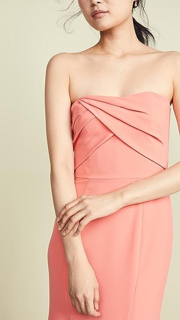 Marchesa Notte Вечернее платье с драпированным лифом без рукавов