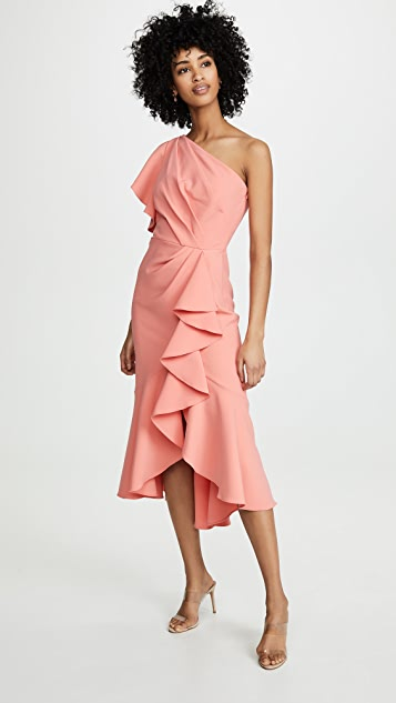 Marchesa Notte One Shoulder Ruffle Sleeve Gown