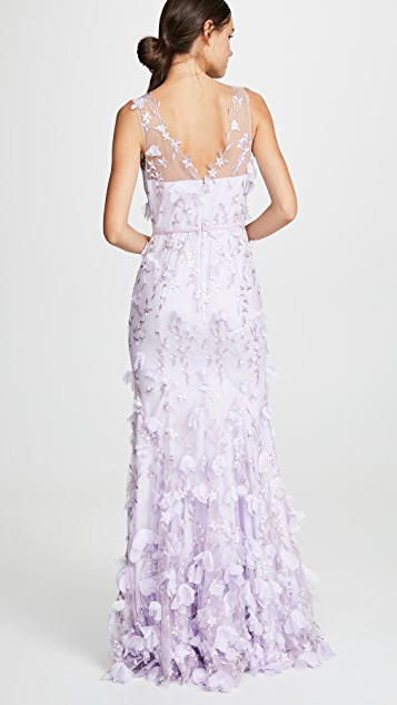 Marchesa Notte V Neck Embroidered Gown