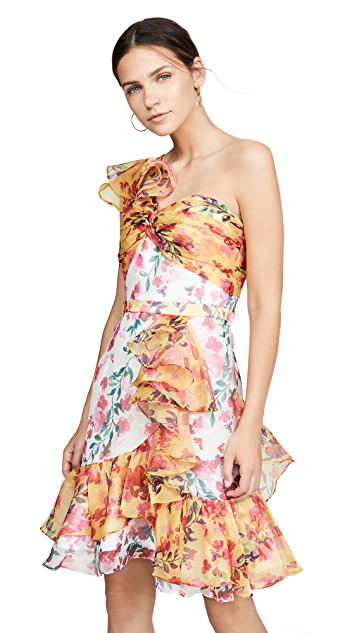 Marchesa Notte One Shoulder Colorblock Cocktail Dress