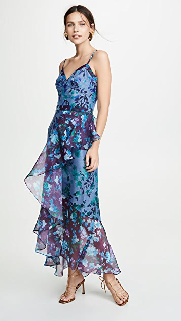 Marchesa Notte Sleeveless Colorblock High Low Gown