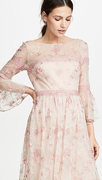 Marchesa Notte Flounce Sleeve Embroidered A-Line gown