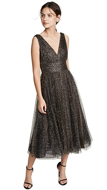 Marchesa Notte Glitter Tulle Tea Length Gown