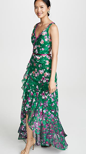 Marchesa Notte Floral High Low Gown