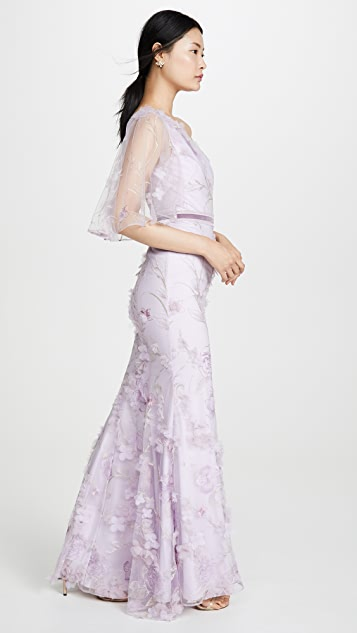 Marchesa Notte One Shoulder Embroidered Tulle Mermaid Gown