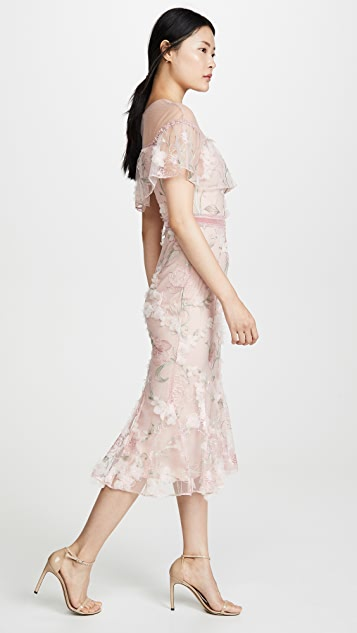 Marchesa Notte Off Shoulder Cocktail Dress