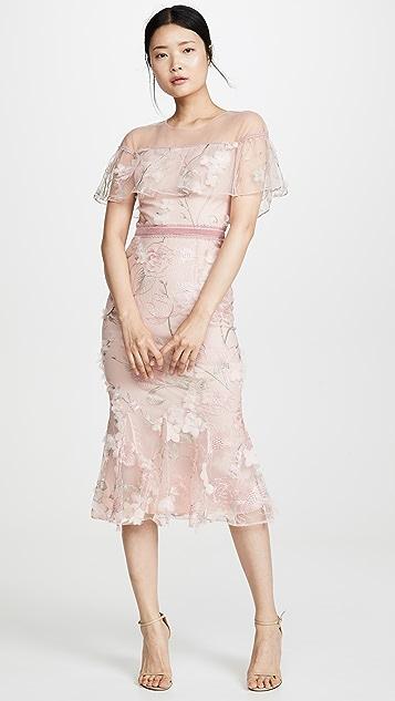 Marchesa Notte Off Shoulder Cocktail Dress