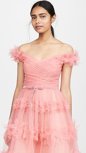 Marchesa Notte Вечернее платье до колен с открытыми плечами