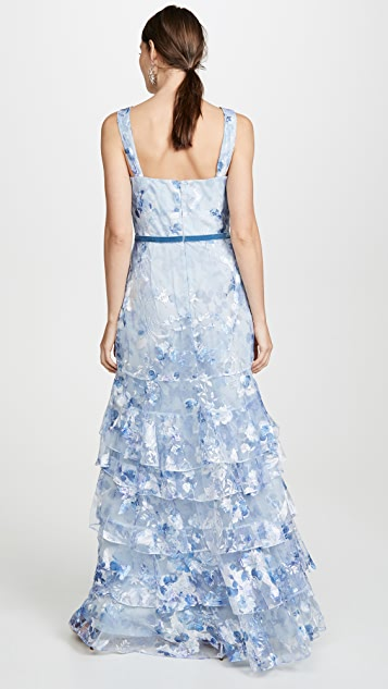 Marchesa Notte Printed Tiered Gown