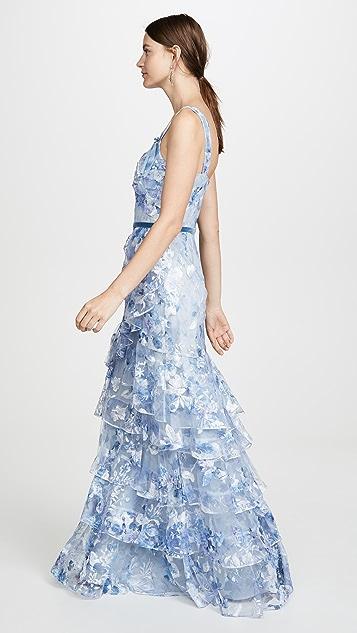 Marchesa Notte Многоярусное вечернее платье с принтом