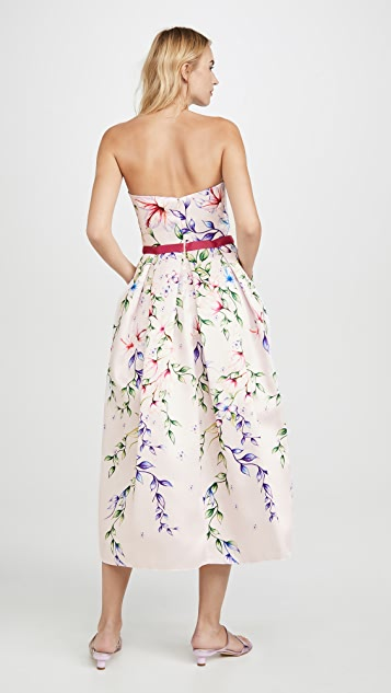 Marchesa Notte Strapless Printed Mikado Corseted Gown