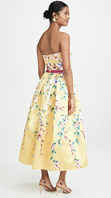 Marchesa Notte Strapless Printed Corseted Gown